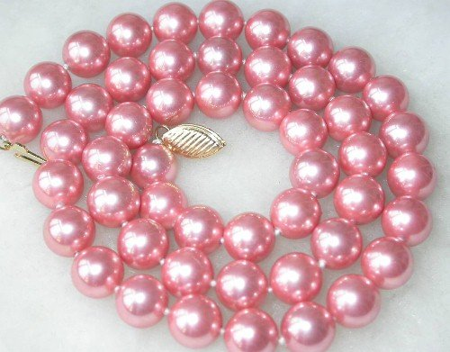 Graceful 17'' 8mm peach Seashell pearl necklace