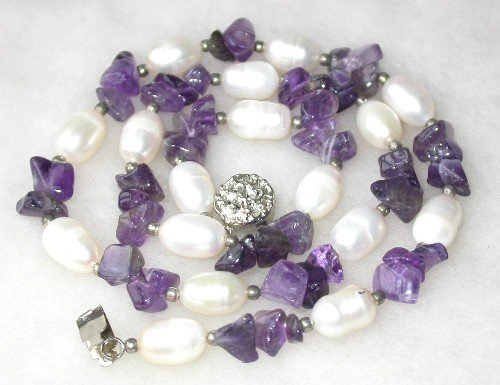 Graceful 17'' 9-10mm white rice pearl amethyst necklace