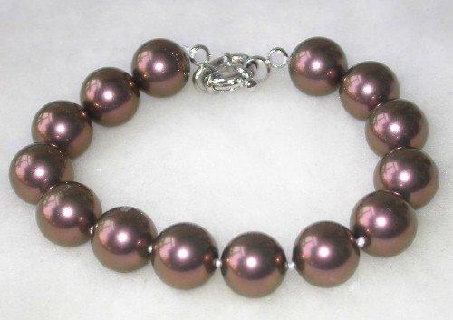 Graceful 7.5'' 12mm brown seashell pearl bracelet