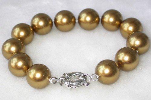 Graceful 7.5'' 12mm coffee seashell pearl bracelet