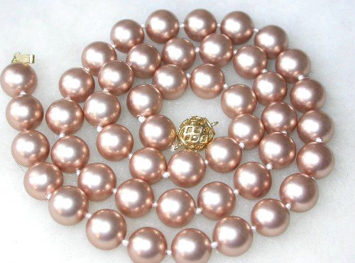 Graceful 8mm champagne Seashell pearl necklace