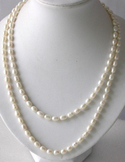 Lustrous ! 51'' 7-8mm white rice pearl necklace