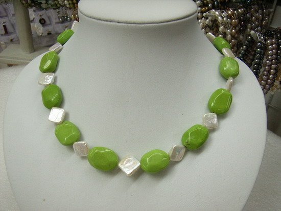"""17"""""""" Green Turquoise and Fresh Water Pearls Necklace"""