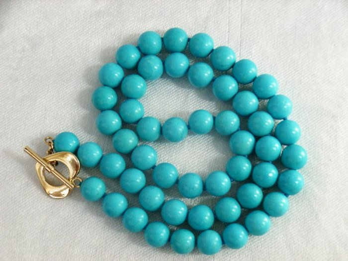 "17"""" 7MM Stylish Natural Blue Turquoise Necklace"