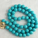 """17"""""""" 7MM Stylish Natural Blue Turquoise Necklace"""