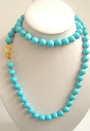 12mm 36'' sky-blue turquoise beads necklace 9k clasp