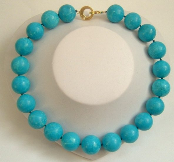 20mm bigger sky-blue natural turquoise bead necklace 9K