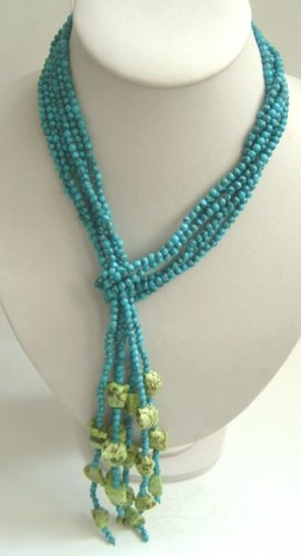 48'' long 3 strand turquoise beads necklace
