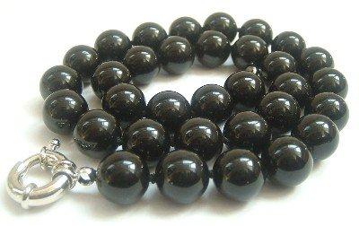 Graceful 12mm AA black Jade Bead Necklace