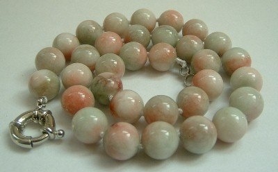 Graceful 12mm AA green Jade Bead Necklace