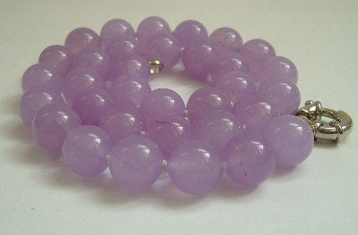Graceful 12mm AA lavender Jade Bead Necklace