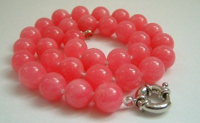 Graceful 12mm AA red Jade Bead Necklace