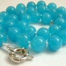 Graceful 12mm AA sky-blue Jade Bead Necklace