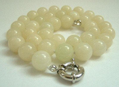 Graceful 12mm AA yellow Jade Bead Necklace