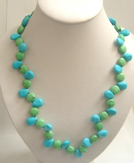 blue turquoise beads necklace SS925 clasp