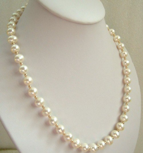 10mm round white Cultured Freshwater Pearl necklace 14K