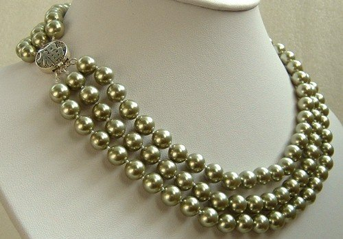 16-18'' 8mm gold green sea shell pearls necklace