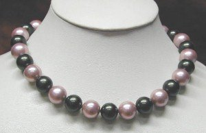 17'' 12mm black&peachblow sea shell pearl necklace