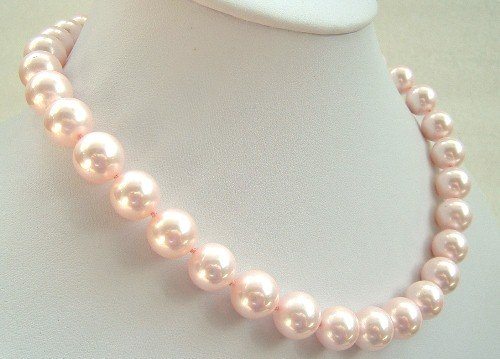 17'' 12mm pink sea shell pearls necklace