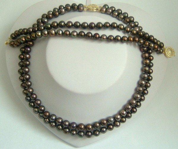 2 strands Real black freshwater pearls necklace set