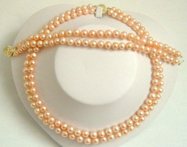 2 strands Real pink freshwater pearls necklace set 9k