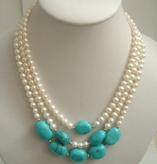3 strands  Real white  freshwater pearl &turquoise necklace SS92