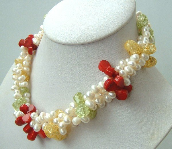 3 strands freshwater pearls crystal& coral necklace