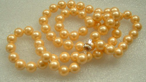 32'' 10mm yellow color sea shell pearls necklace