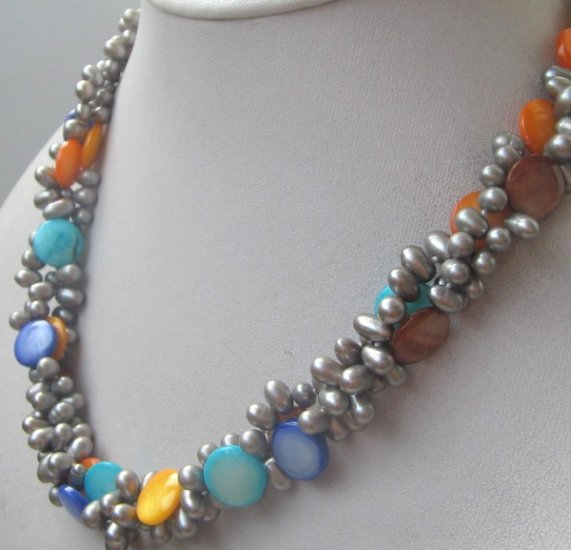 3strand gray color freshwater pearls mix shell necklace