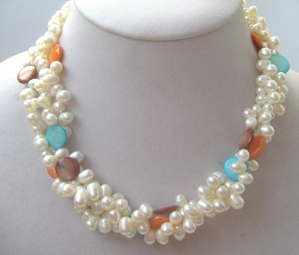 3strand white color freshwater pearl & mix shell necklace