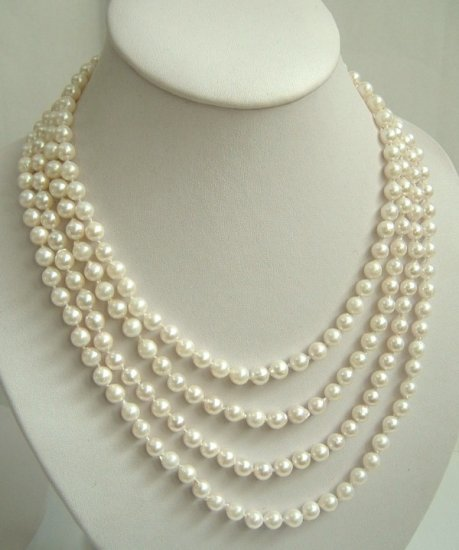 4 strands Real white sea water cultured pearls necklace