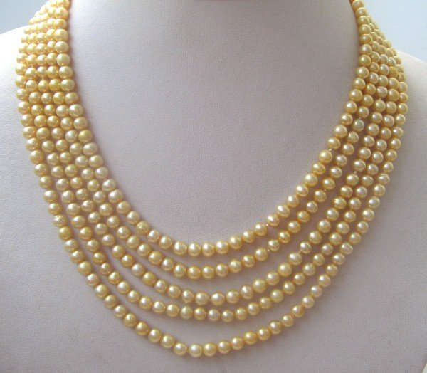 5 strands yellow color freshwater pearls necklace
