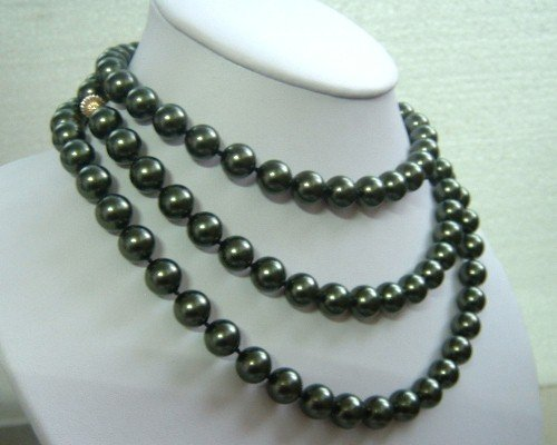 50'' 10mm peacock sea shell pearl necklace