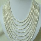 8strand white color FW pearls SS925 clasp necklace