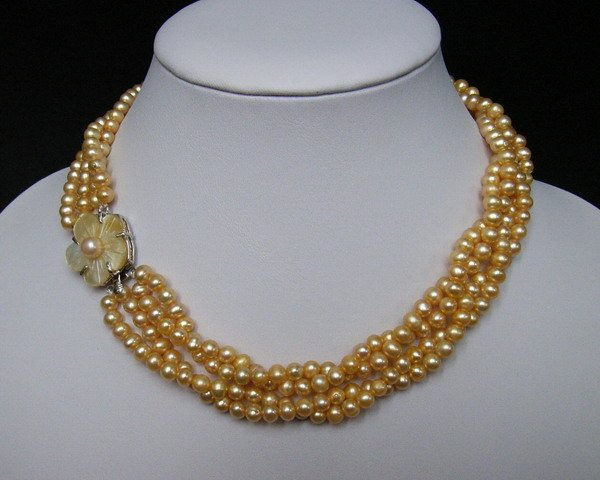 5 MM 3 Strings Fresh Water Pearls Necklace-Yellow