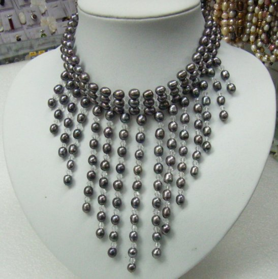5-6mm Fresh Water Pearls and Crystal necklace