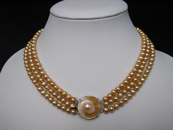 6-7MM 3 Strings Fresh Water Pearls Necklace-Champagne