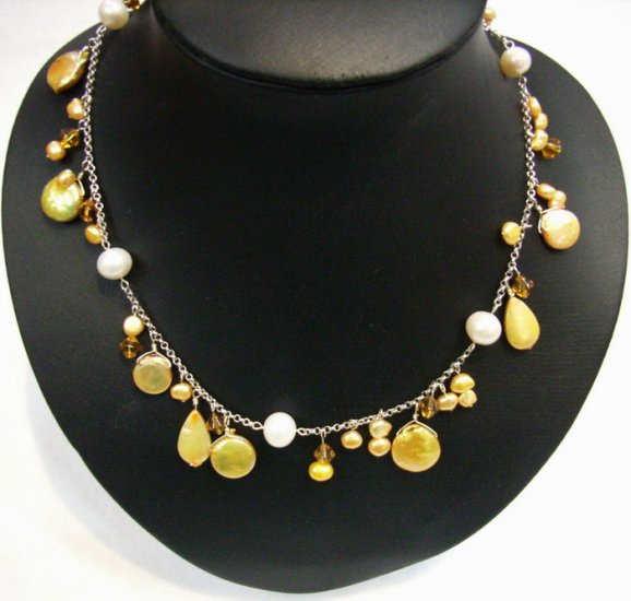 Fantastic Golden Fresh Water Pearls Necklace silver