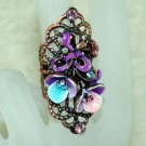 Rhinestone ring purple