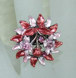 Rhinestone ring red flower