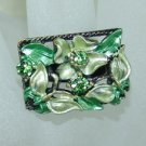 Rhinestone ring rec green