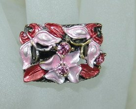 Rhinestone ring rec red