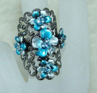 Rhinestone ring blue