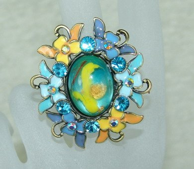 Rhinestone ring B cute blue