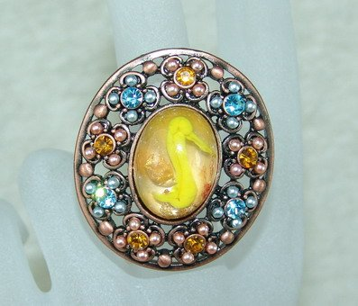 rhinestone ring oral yellow