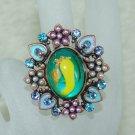 Rhinestone ring beauty blue
