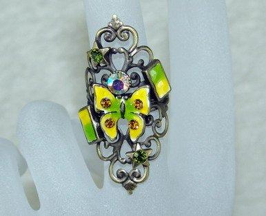 Rhinestone ring vintage butterfly