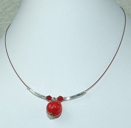 red dreamstone pendant chocker