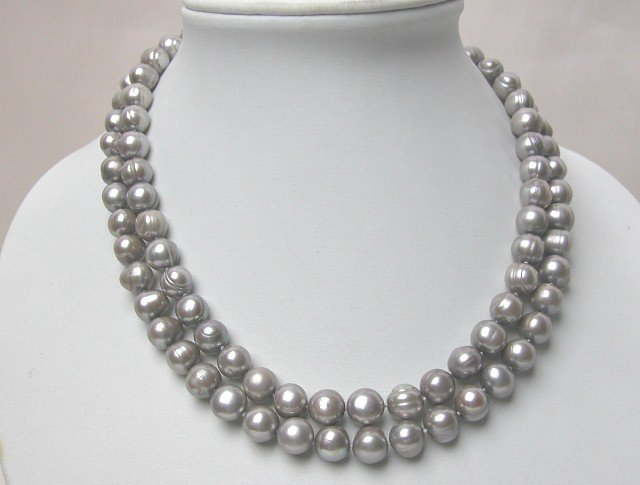 2 STRANDS 9-10mm GREY FRESHWATER PEARL NECKLACE