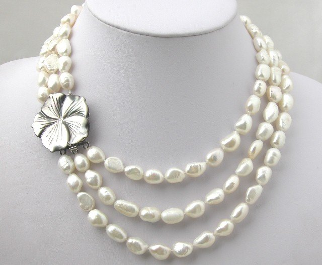 3 STRANDS 9x13MM NATURAL WHITE FW Pearl Nekclace